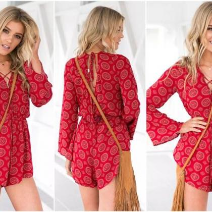 Red Long Sleeve Lace up Romper