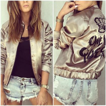 Spring and Autumn Printed Bomber Ja..