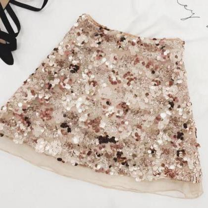Stylish High Waist Sequined Mini Sk..