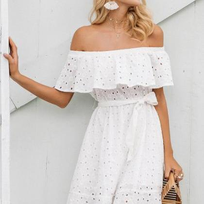 Classy White Off Shoulder Dress
