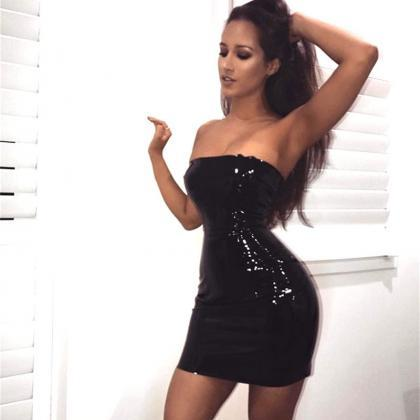 Off Shoulder Leather Sexy Bodycon p..