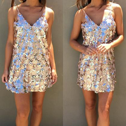Spring Summer Chic Sequin Party Dre..