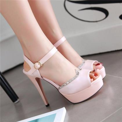 Gorgeous Peep Toe Rhinestone High H..