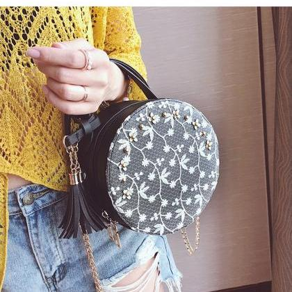 Gorgeous Round Shoulder Bag with La..