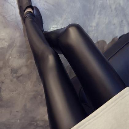 Black Pu Leather Leggings