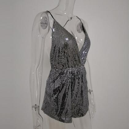 V Neck Sexy Sequined Romper Jumpsui..