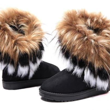 Black Faux Fur Design Boots