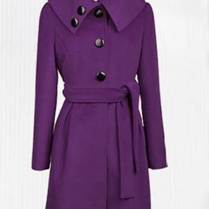 Cute Purple Cashmere Long Coat