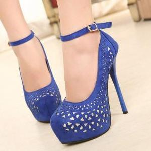 Royal Blue Strappy Fashion High Heel Pumps on Luulla