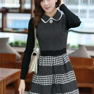 Plaid Black Splicing Dress