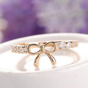 Adorable Bow Design Crystal Embell..