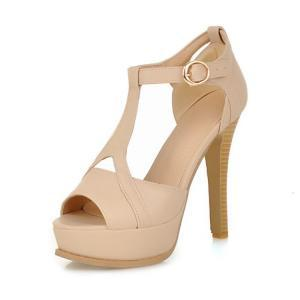 Stiletto High Heel T Strap Beige Fa..