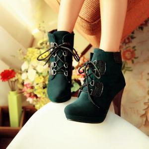 Deep Green Lace Up High Heel Boots