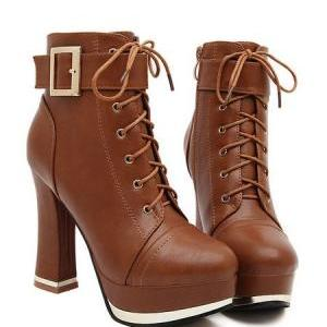 Lace up Brown High Heel Ankle Boots