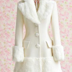 Fitted Long Sleeve White Coat With Faux Fur Decoration on Luulla