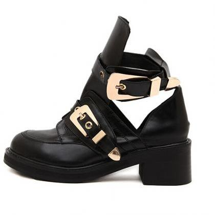 Punk Style Black Buckle Design Chun..