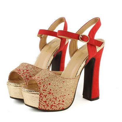 Peep Toe Red And Gold High Heels Fashion Sandals on Luulla