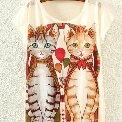 Adorable Cat Printed T shirt