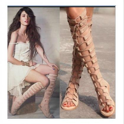 Leather Lace-Up Gladiator Sandals