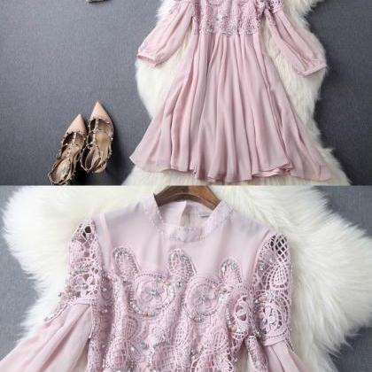 Classy Lace and Chiffon Long Sleeve..