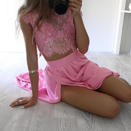 Elegant Two Piece Lace Top and Skir..