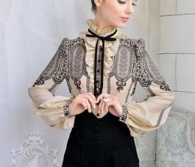 Retro Style Stand Collar Long Sleeve Blouse