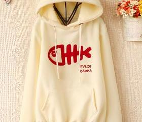 Cute Fish Bone Pattern Hoodie
