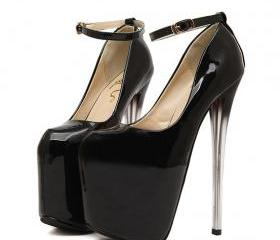 Strappy Black High Heel Fashion Pumps