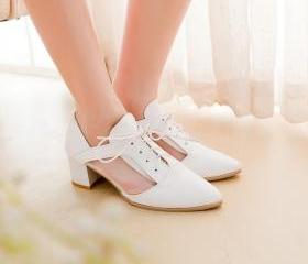Elegant White Chunky Heel Pointed Toe Oxford Shoes
