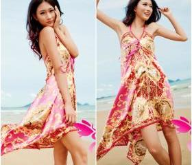 Elegant Printed Beach Dress Swimsuit Cover Up