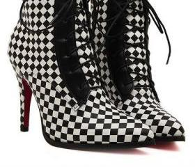 Black and White Plaid Design Pointed Toe High Heel Boots