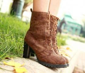 Brown Mid Calf Martens Winter Boots