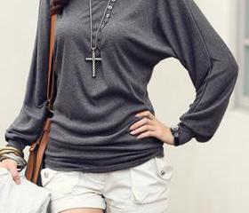Grey Casual Long Sleeve Top