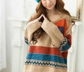 Cute Tribal Print Knitted Sweater