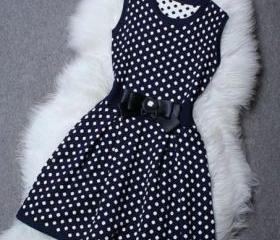 Round Collar Polka dots Sleeveless Dress with bow