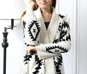 Aztec Pattern Loose Knitted Cardigan