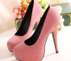 Alluring Suede Pink High Heels Shoes
