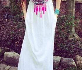 Tribal Print White Maxi Dress