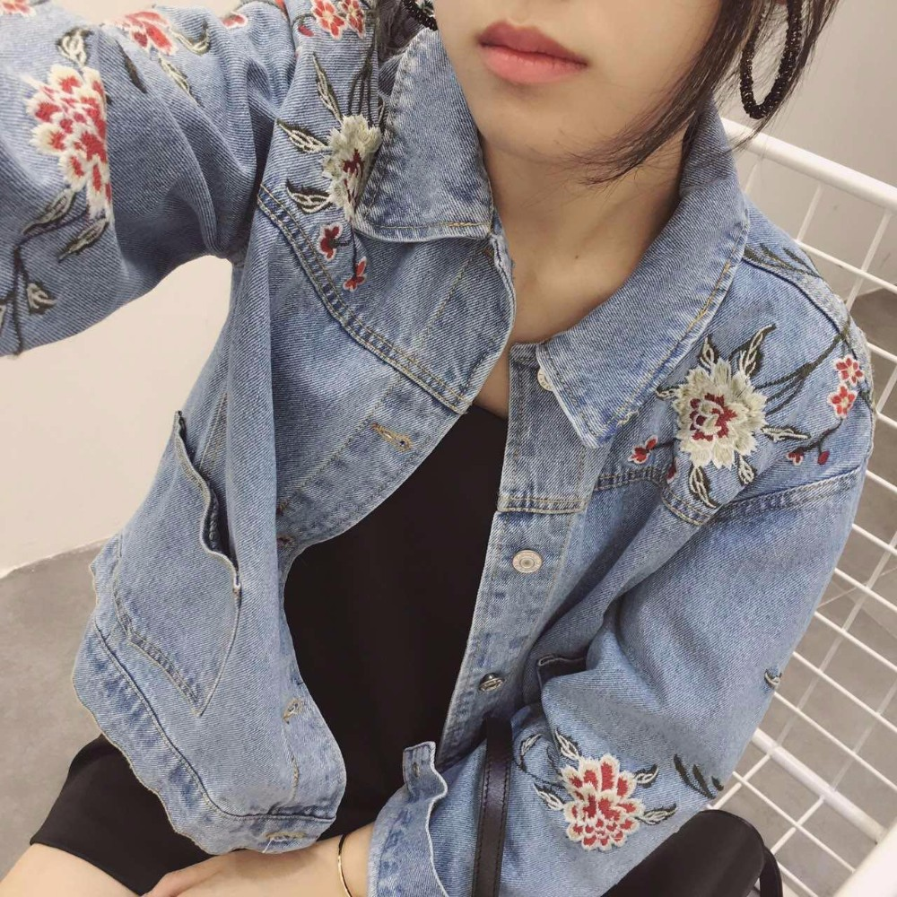 Classic Floral Embroidered Denim Jacket with Long Sleeves