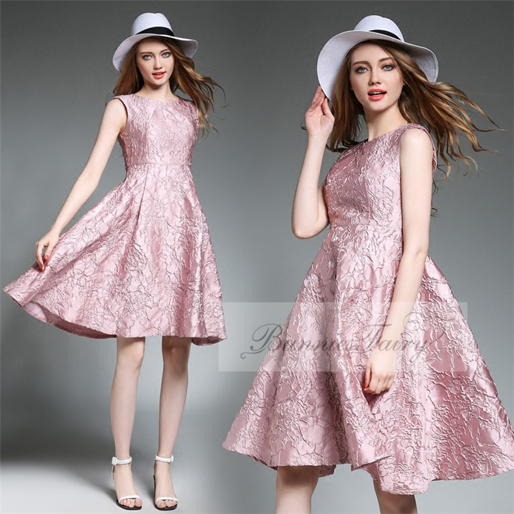Jacquard Beautiful Pink Sleeveless Princess Inspired Party Dress
