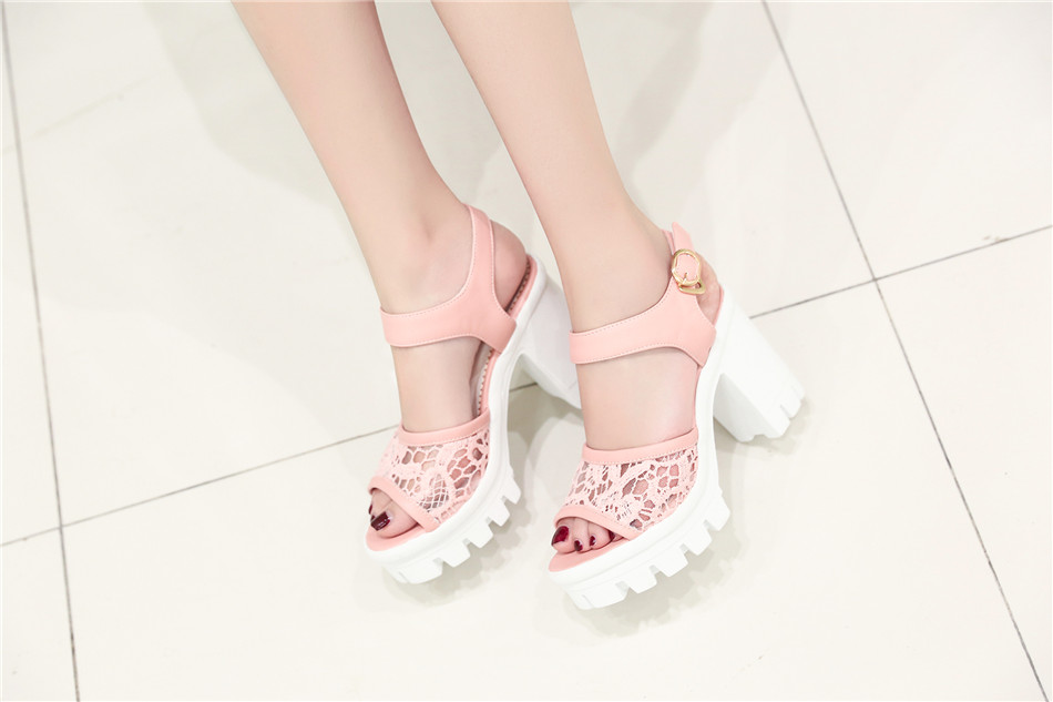 Pink Peep toe Chunky Heels Sandals with Beautiful Lace Detail