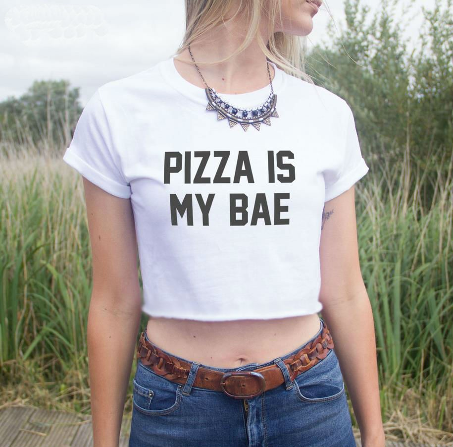Pizza Is My Bae Short Cuffed Sleeves Crop Top Tee