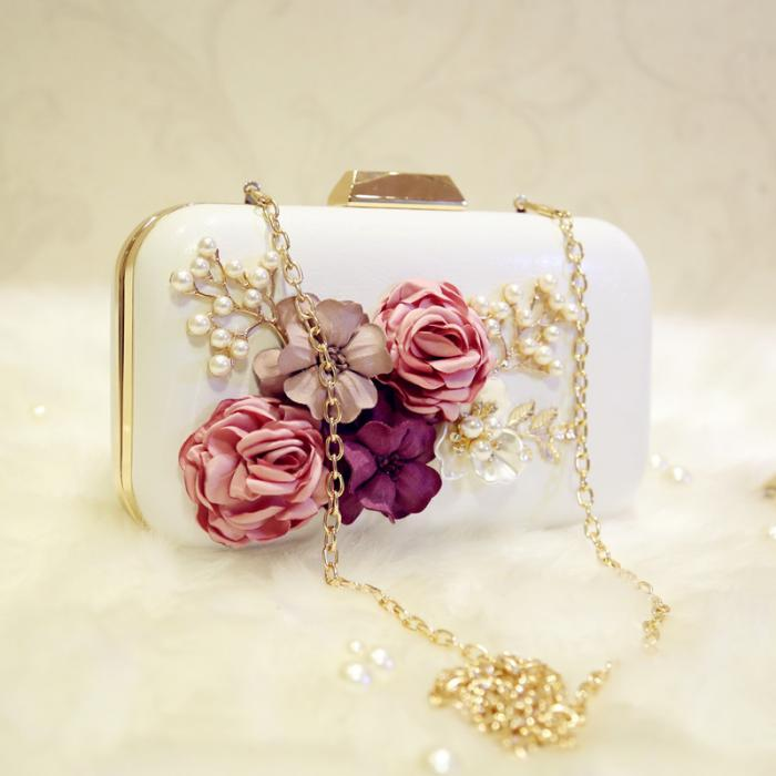 Leather Flower Inlay Elegant Clutch Bag