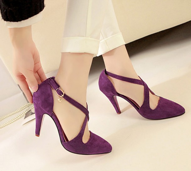 Sexy Purple Criss Cross High Heel Pumps on Luulla
