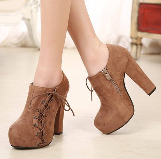 Chunky Heel Brown Ankle Boots on Luulla