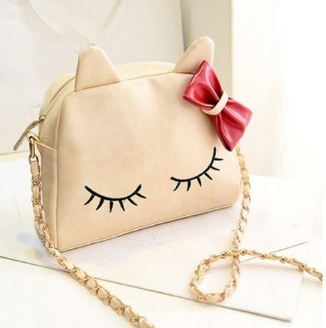 Cute White Bow Knot Design Kitty Hand Bag on Luulla