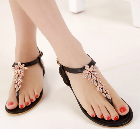 Beautiful Black Rhinestone Design Beaded Flat Sandals on Luulla