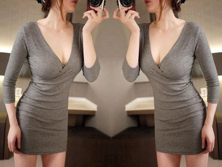 Sexy Long Sleeve Solid Grey Wrap Dress