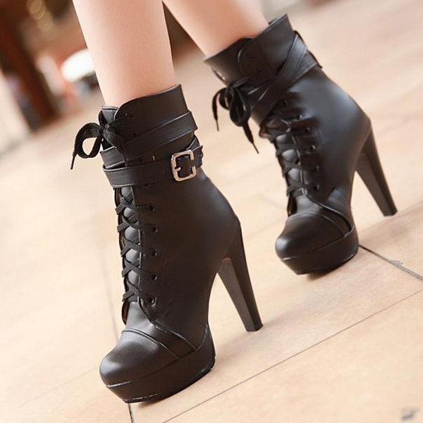 Spring Autumn Round Toe Lace Up Chunky High Heels Black Leather ...