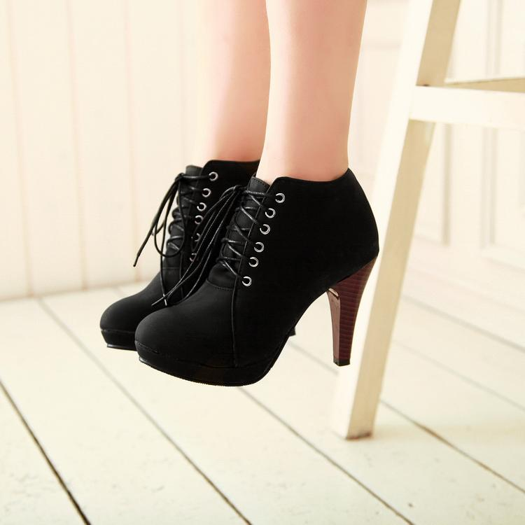 toe stiletto high heel lace up ankle black boots on